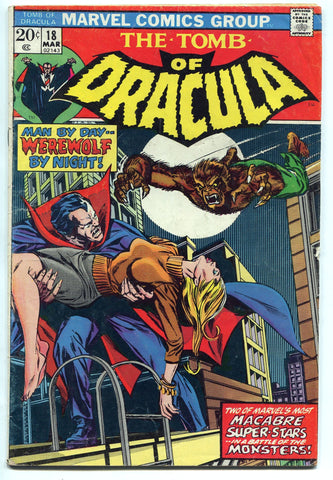 Tomb of Dracula #18 Fine with Werewolf by Night 1974 Marvel MVS intact