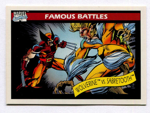 1990 Marvel Universe Series 1 Impel Famous Battles Wolverine VS Sabretooth Card