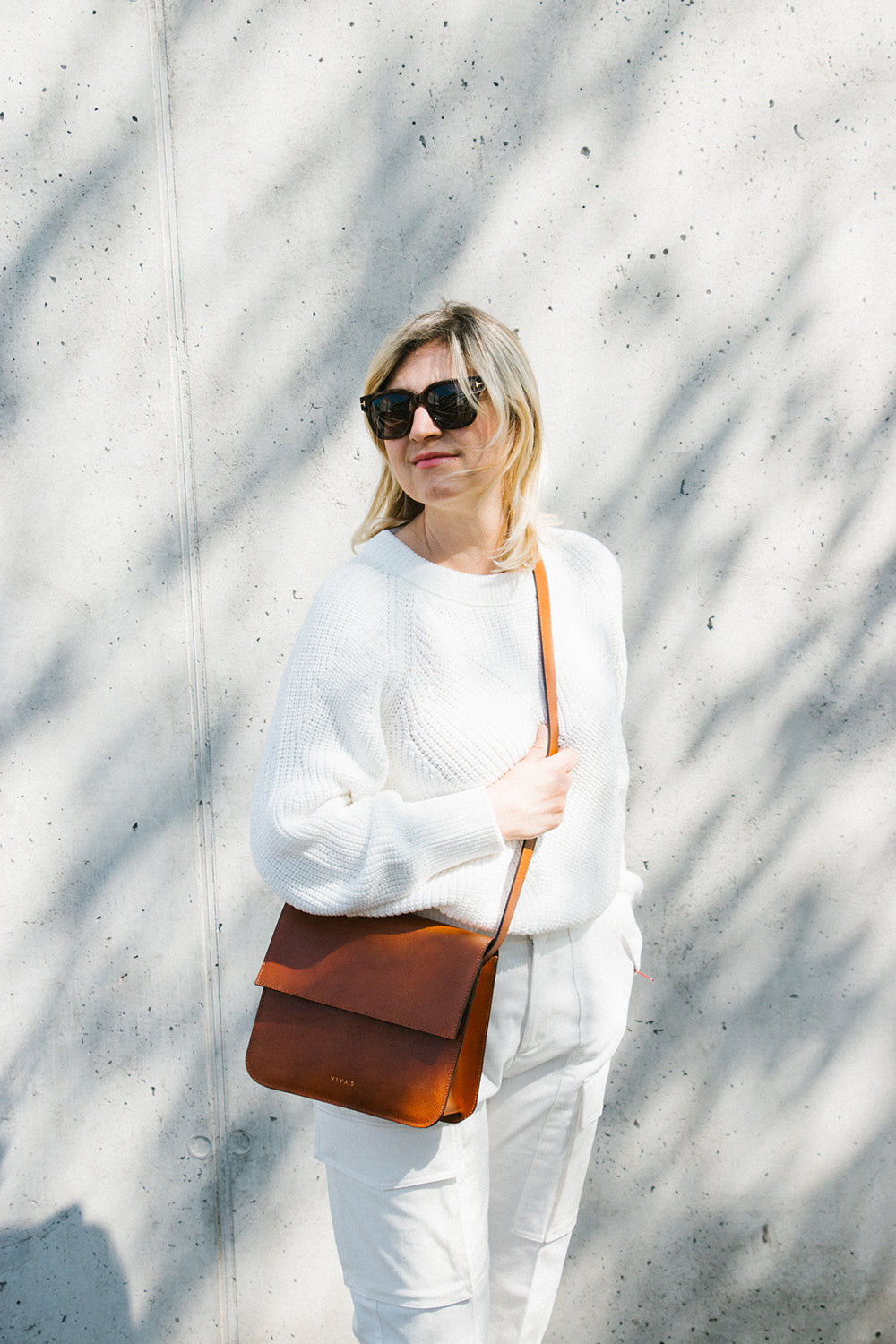 Cognac Leather Crossbody Bag