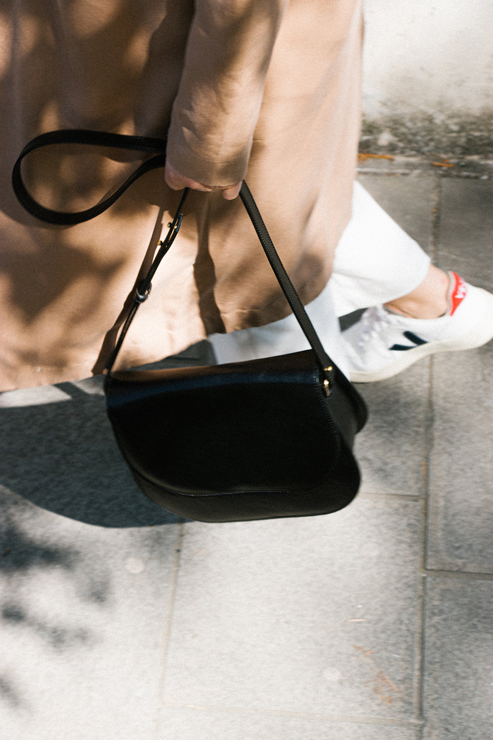 Black Leather Half Moon Bag