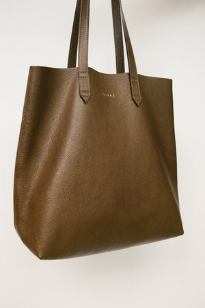Olive Green Leather Tote Bag