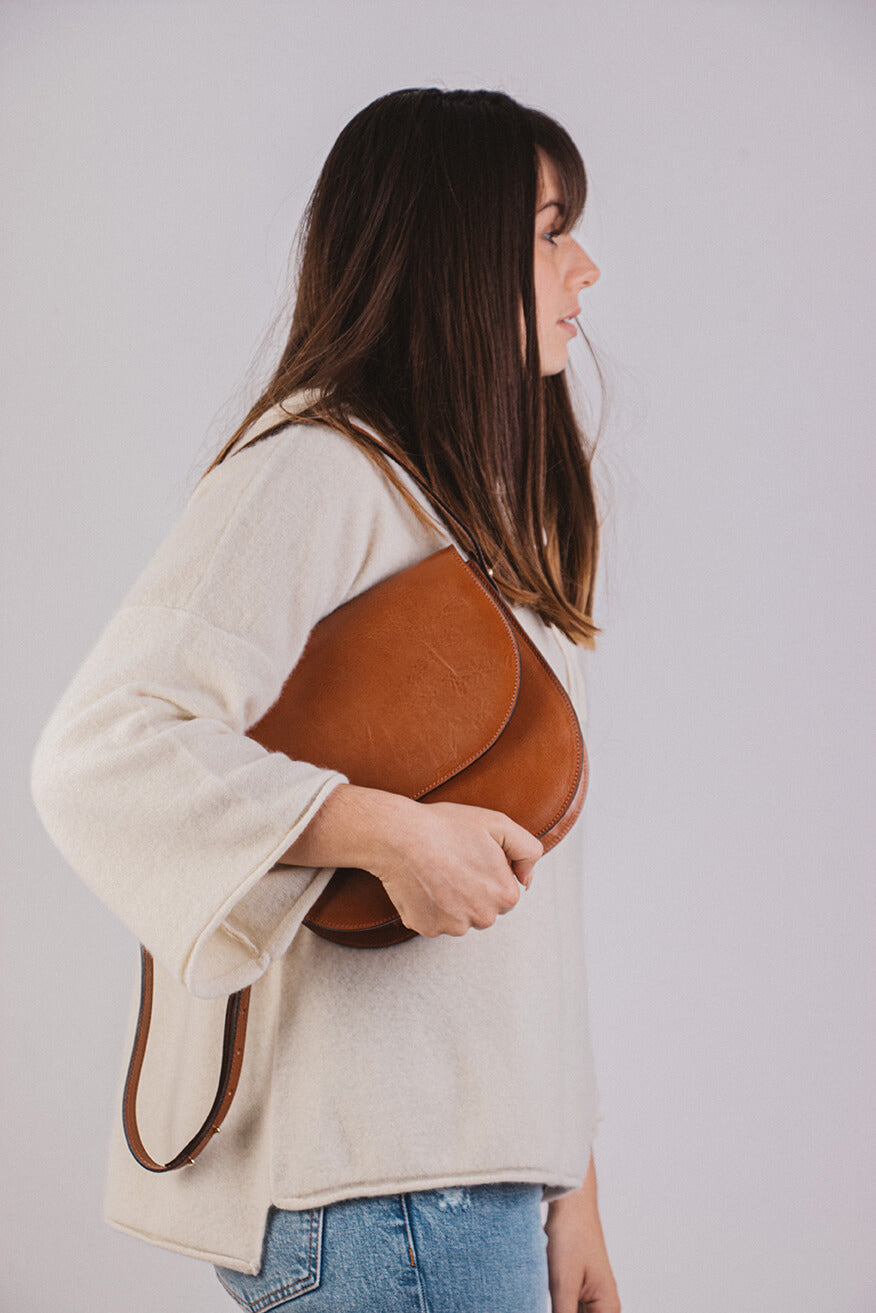 Cognac Half Moon Bag