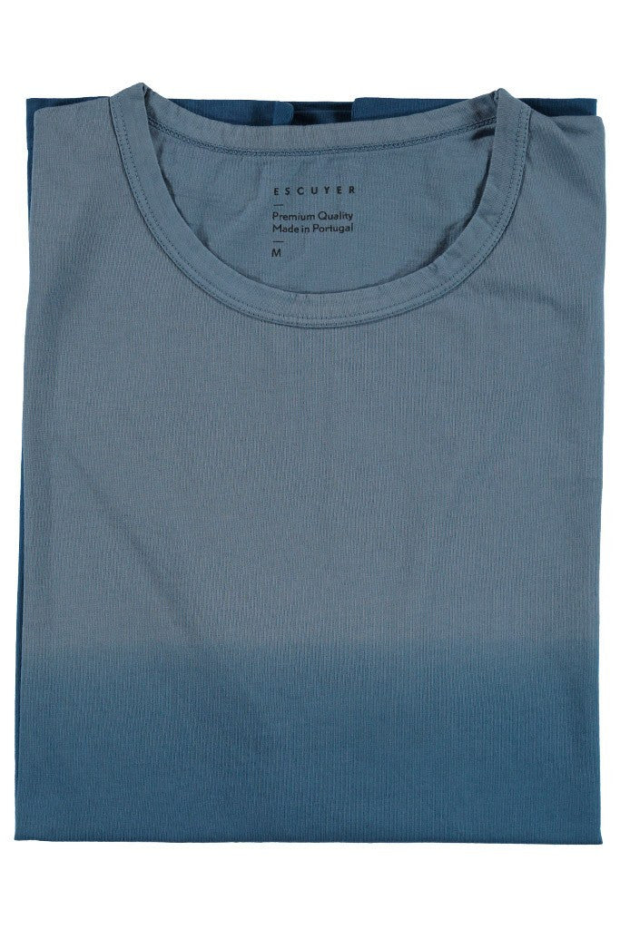 Dégradé Crew Neck T-Shirt - Blue / Blue - Escuyer