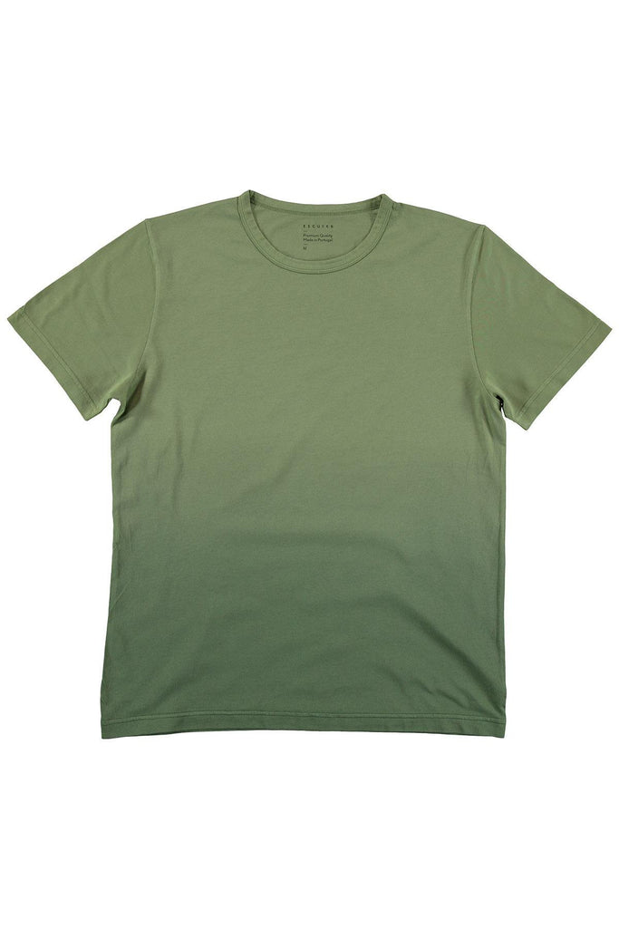 Dégradé Crew Neck T-Shirt - Green / Green - Escuyer
