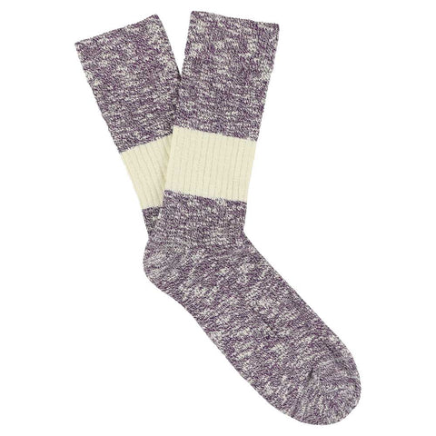 Melange Band Socks - Purple / Ecru
