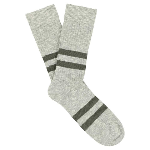 Melange Stripes Socks - Grey / Khaki