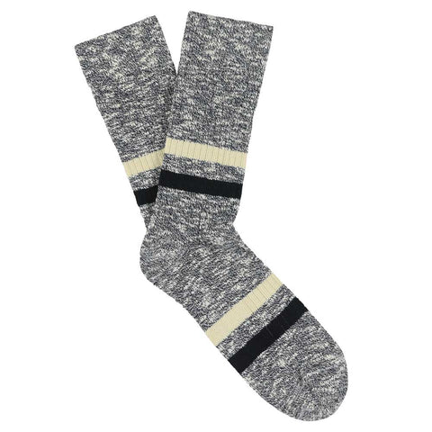 Melange Stripes Socks - Navy / Ecru