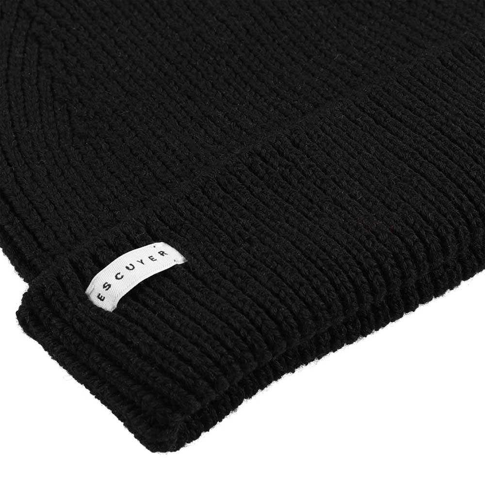 Ribbed Merino Beanie / Black