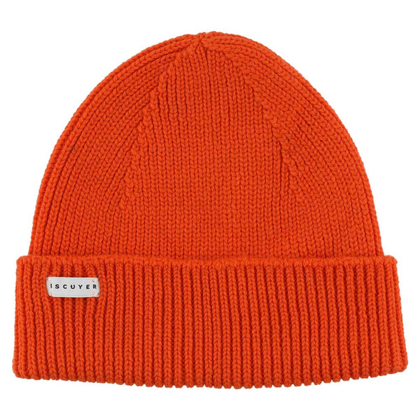 Ribbed Merino Beanie / Bold Orange