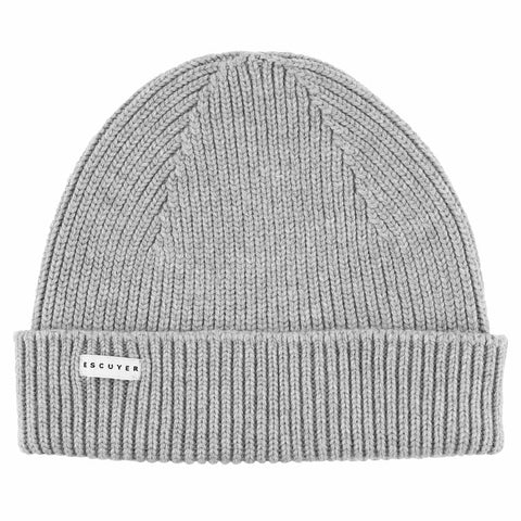 Ribbed Merino Beanie / Light Grey