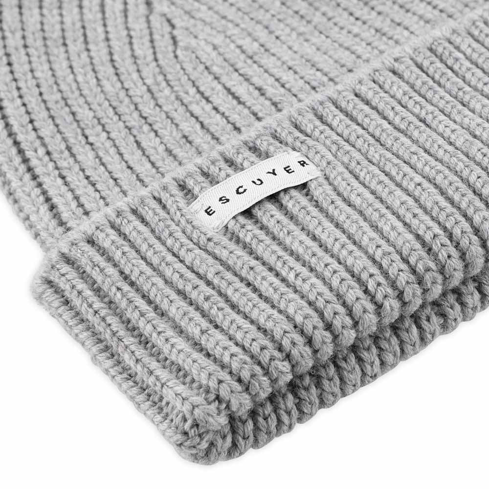 Ribbed Merino Beanie / Light Grey - Escuyer