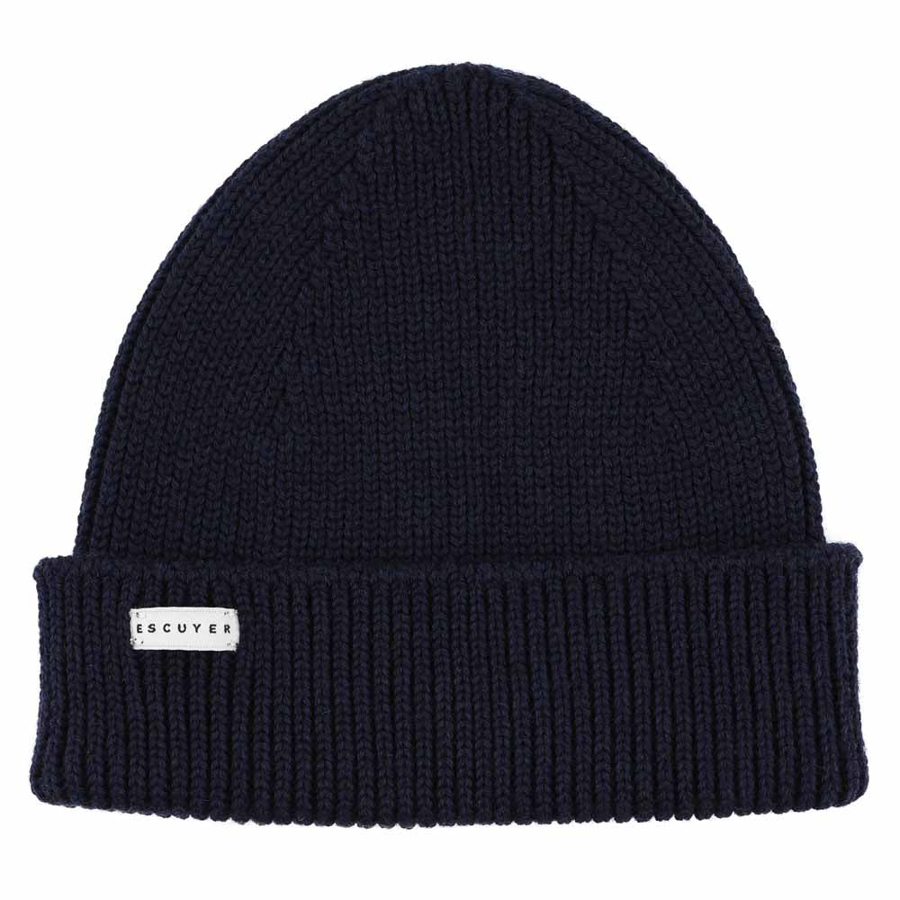 Ribbed Merino Beanie / Navy - Escuyer