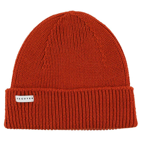 Ribbed Merino Beanie / Orange