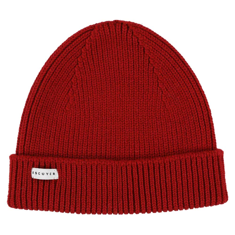 Ribbed Merino Beanie / Red