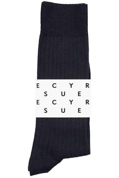 Classic Ribbed Socks - Navy - Escuyer