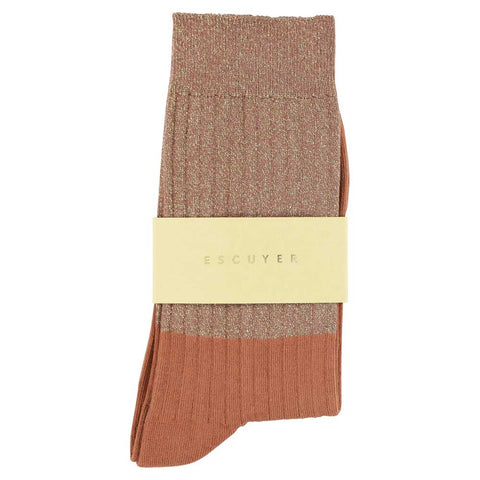 Women Block Socks - Lurex Gold  / Arabian Spice