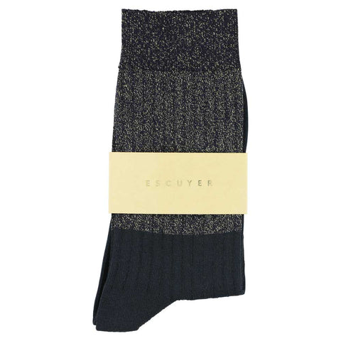 Women Block Socks - Lurex Gold  / Black