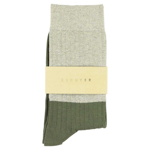 Women Block Socks - Lurex Gold  / Olive