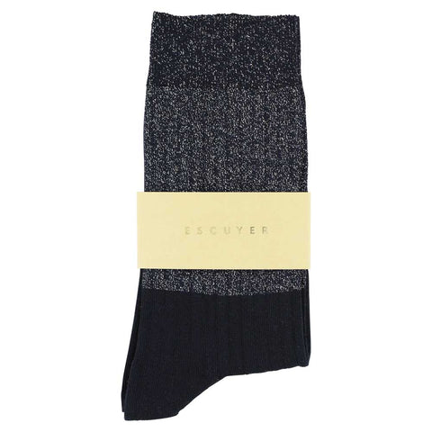 Women Block Socks - Lurex Silver  / Blue