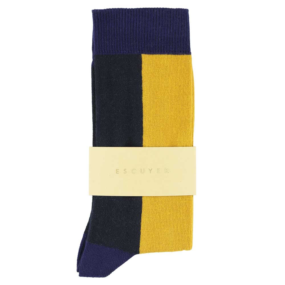 Women Chess Socks - Blue Print / Honey