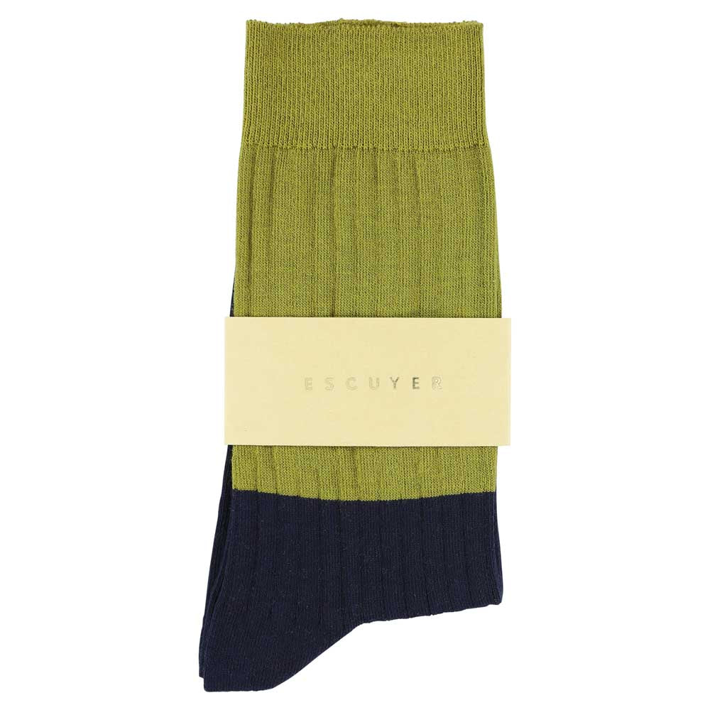 Women Block Socks - Ecru Olive  / Dress Blue