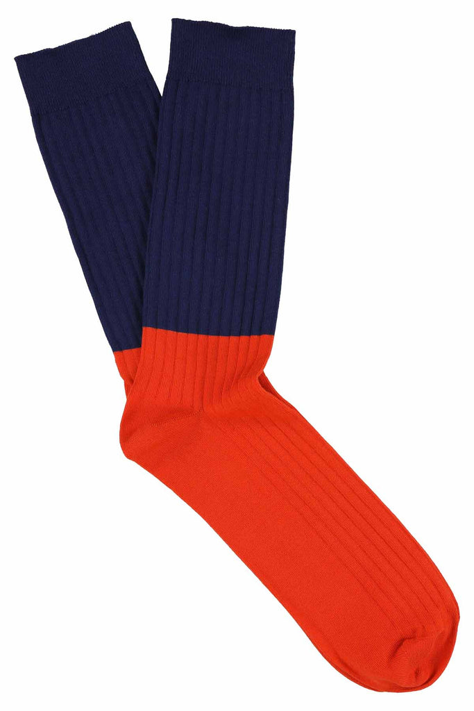 Colour Block Socks Estate Blue / Orangeade - Escuyer