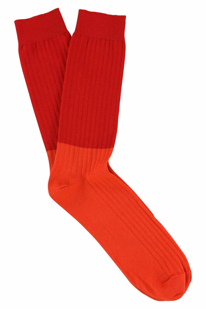Colour Block Socks Chinese Red / Poinciana - Escuyer