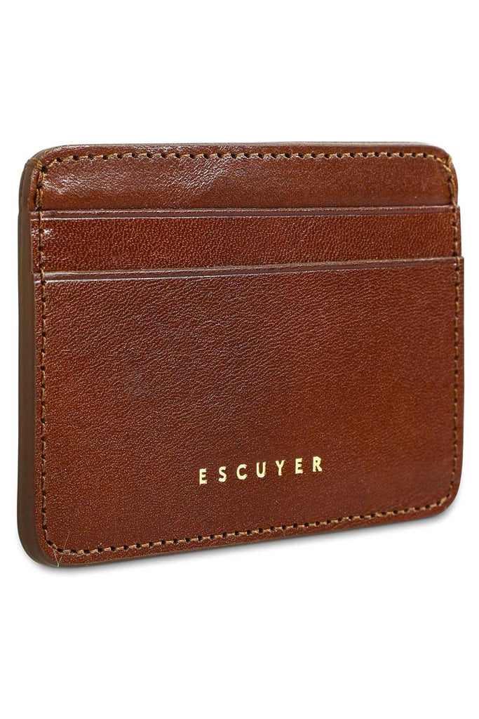 Leather Cardholder - Light Brown - Escuyer