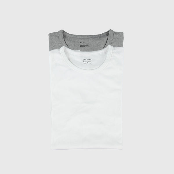 White or Grey Melange Crew Neck T-shirt Subscription - Escuyer