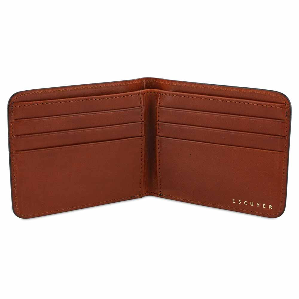 Leather Billfold Wallet - Blue / Cognac