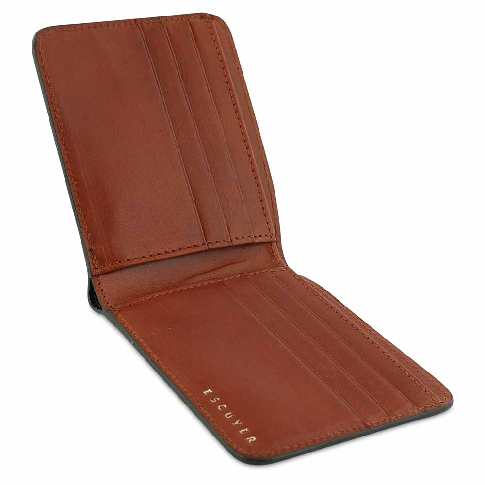 Leather Billfold Wallet - Green / Cognac - Escuyer