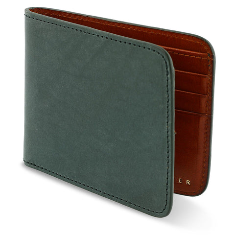 Leather Billfold Wallet - Green / Cognac