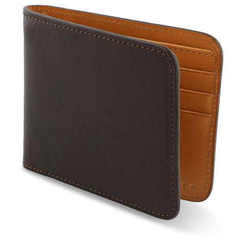 Leather Billfold Wallet - Dark Brown / Natural