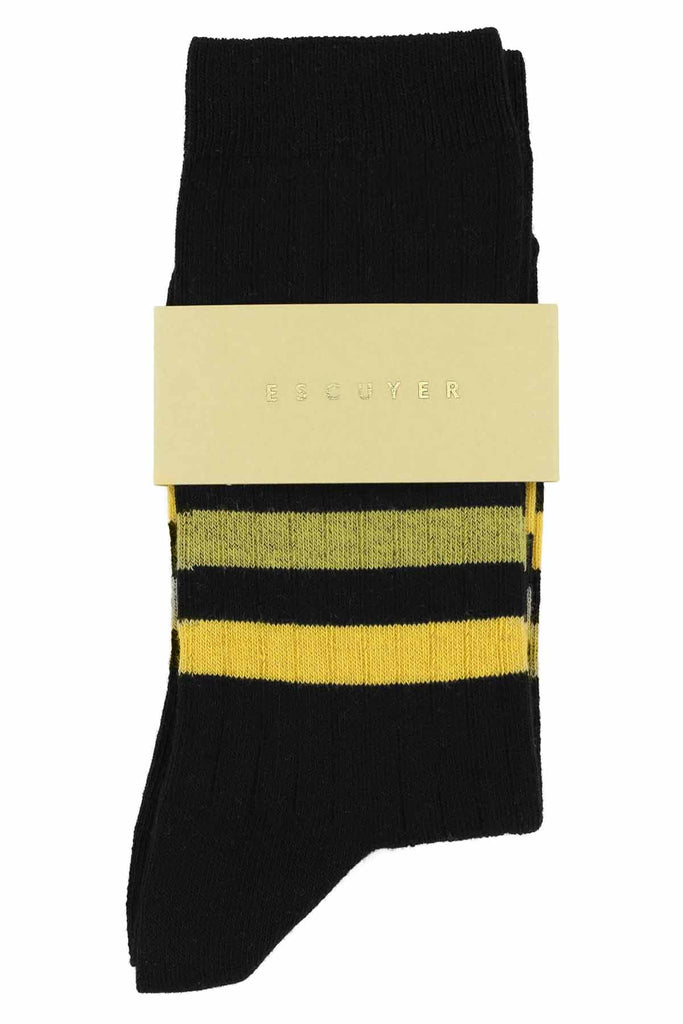 Women Stripes Socks - Black / Yellow