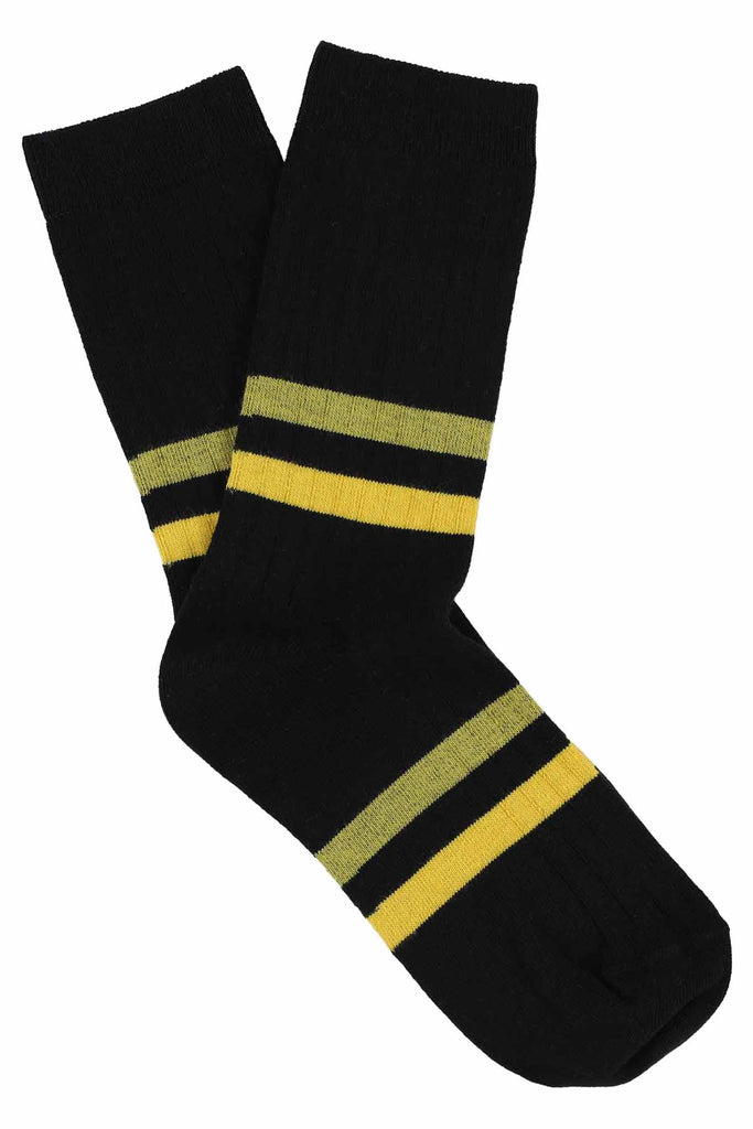 Women Stripes Socks - Black / Yellow - Escuyer