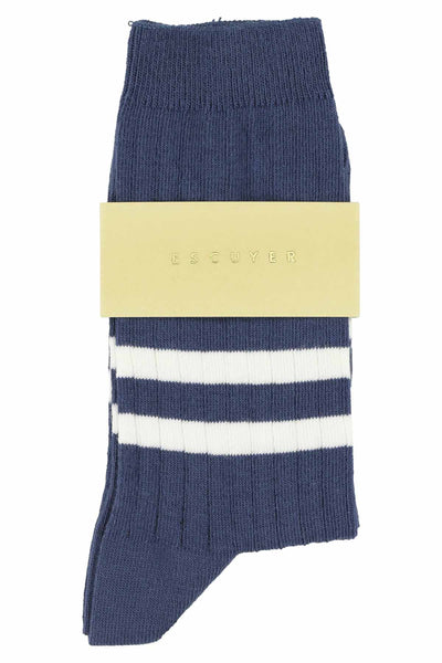 Women Stripes Socks - Blue Grey / Off White