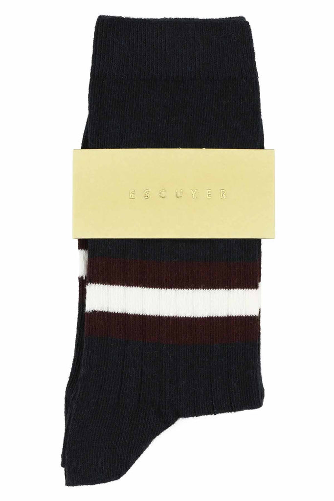 Women Stripes Socks - Dark Blue / Andorra / Off White - Escuyer