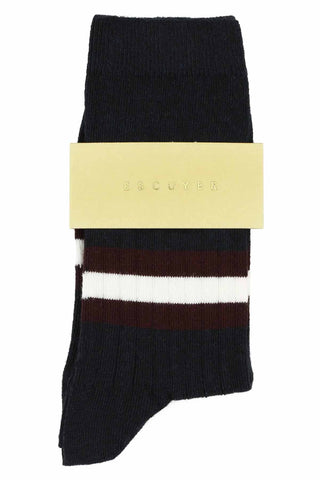 Women Stripes Socks - Dark Blue / Andorra / Off White