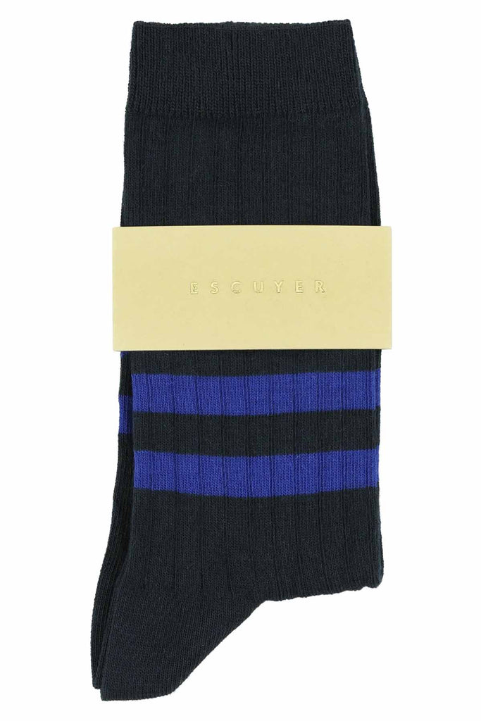 Women Stripes Socks - Navy / Strong Blue - Escuyer
