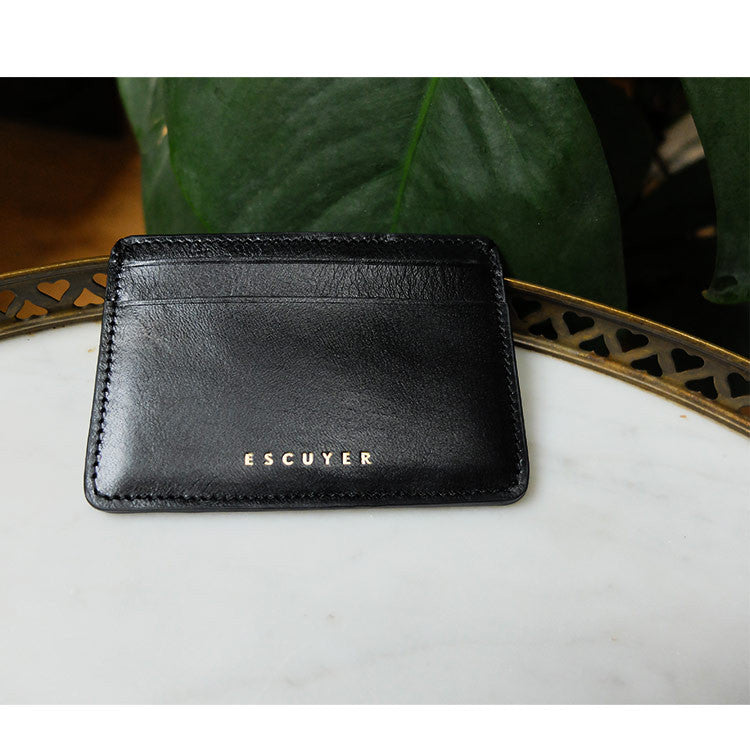 Leather Cardholder - Black - Escuyer