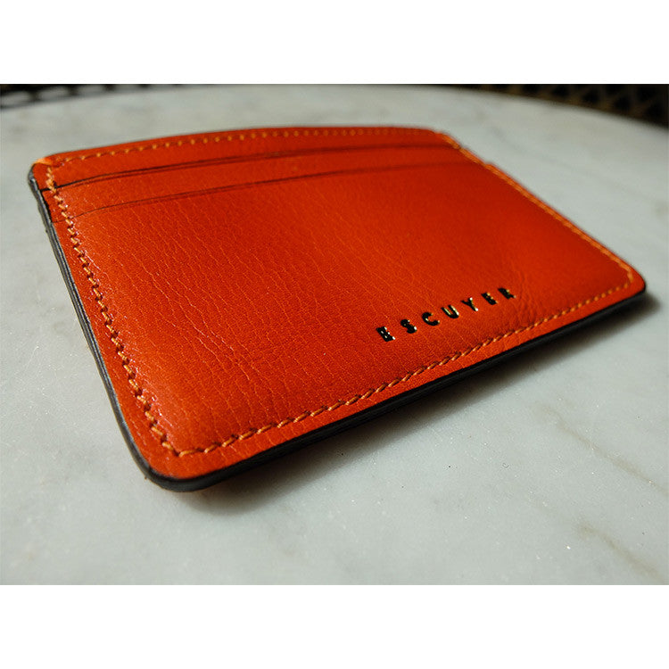 Leather Cardholder - Orange - Escuyer