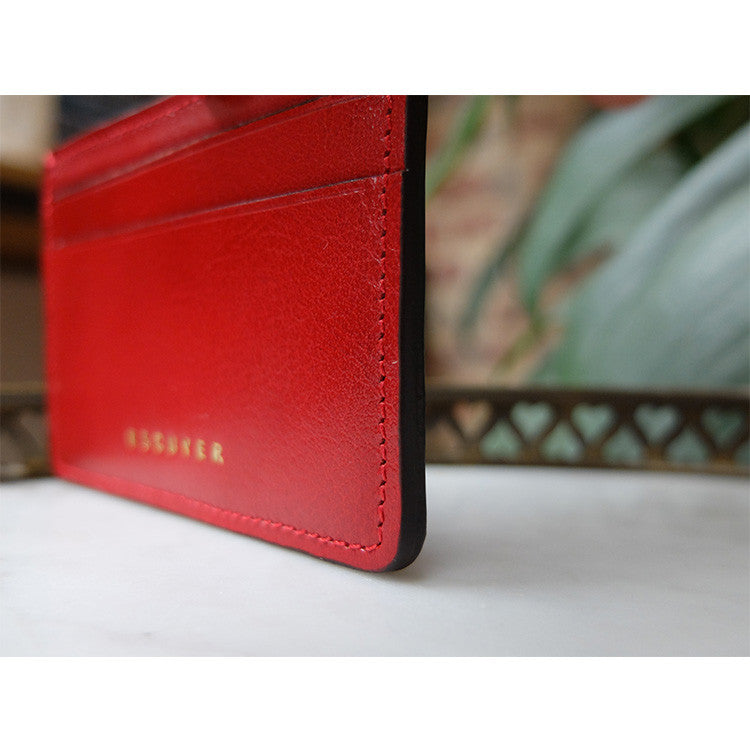 Leather Cardholder - Red