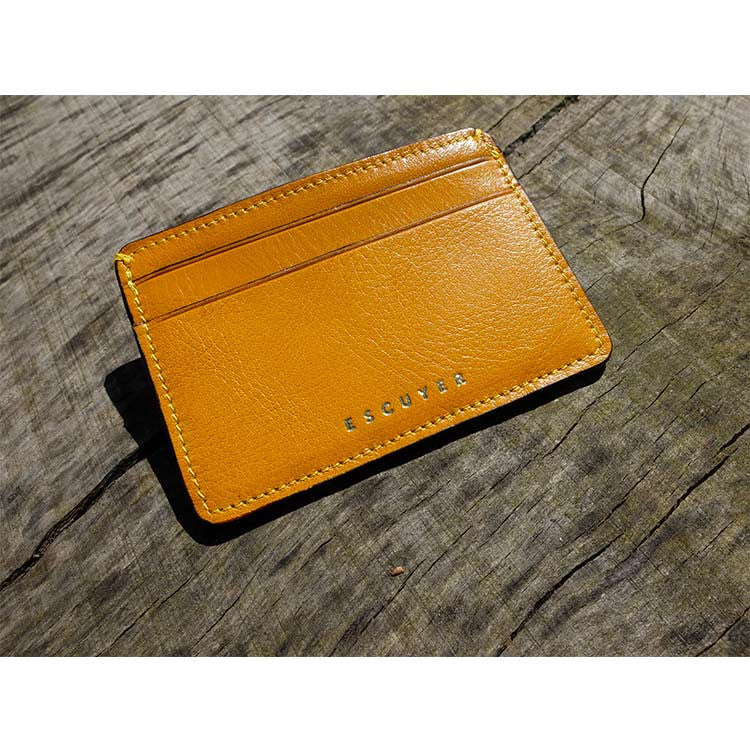 Leather Cardholder - Yellow - Escuyer