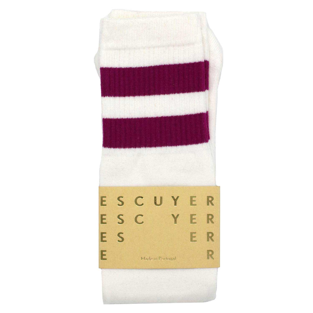 Unisex Tube Socks - Off White / Purple - Escuyer