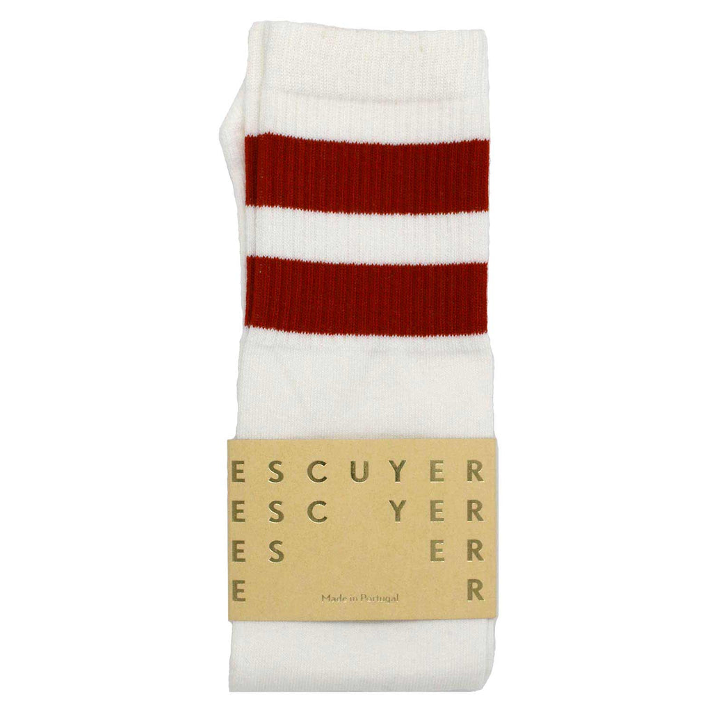 Unisex Tube Socks - Off White / Red Ochre - Escuyer
