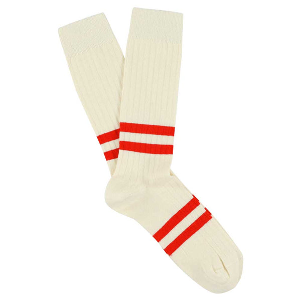 Stripes socks - Ecru / Vintage Orange