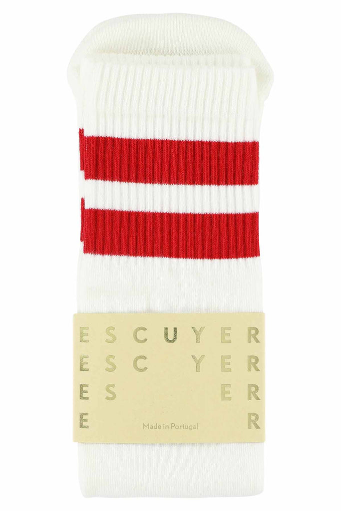 Unisex Tube Socks - Off White / Chinese Red - Escuyer