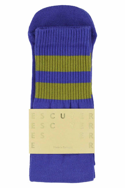 Unisex Tube Socks - Clematis Blue / Olive - Escuyer