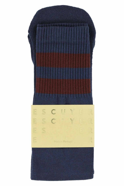 Unisex Tube Socks - Crown Blue / Russet Brown - Escuyer