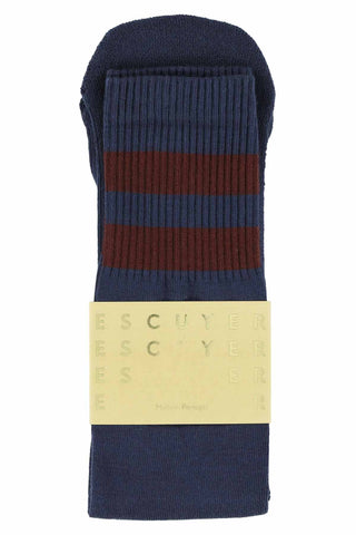 Unisex Tube Socks - Crown Blue / Russet Brown